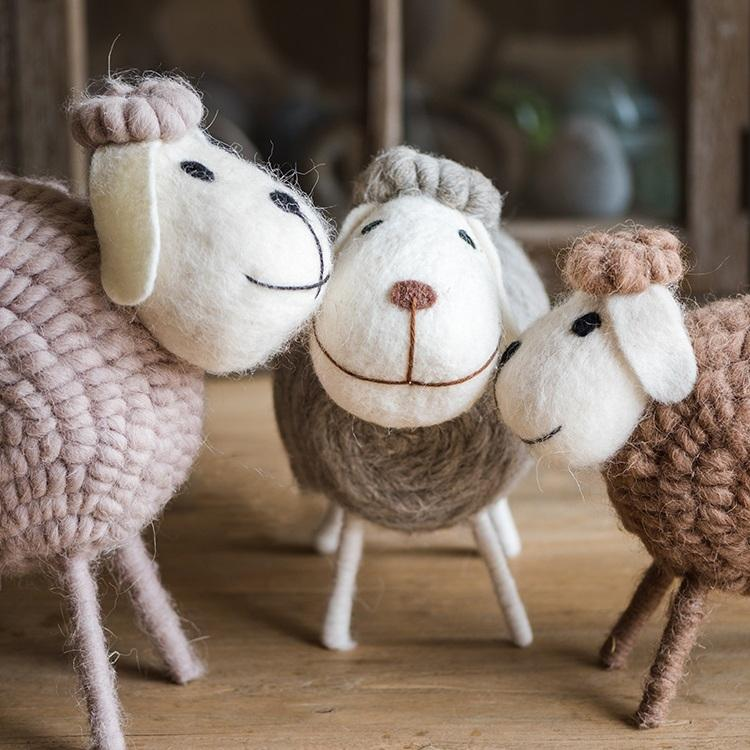 Handmade Wool Sheep Knick-Knack Small Set of 3 RusticReach