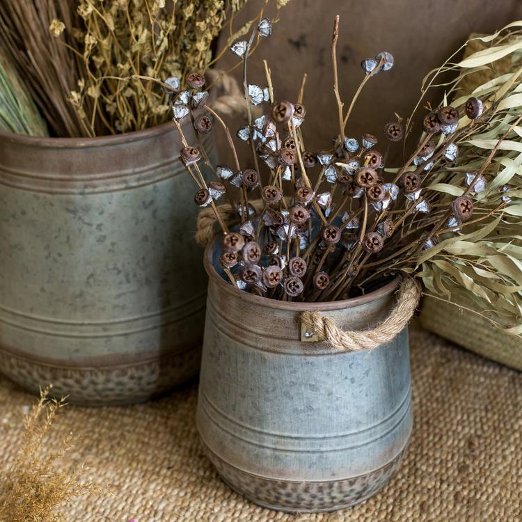 Iron Flower Pail with Rope Handles RusticReach