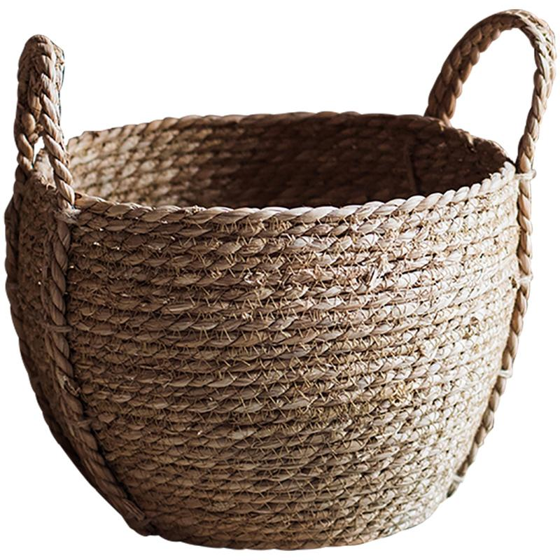 Khaki Brown Solid Color Straw Basket With Handles RusticReach