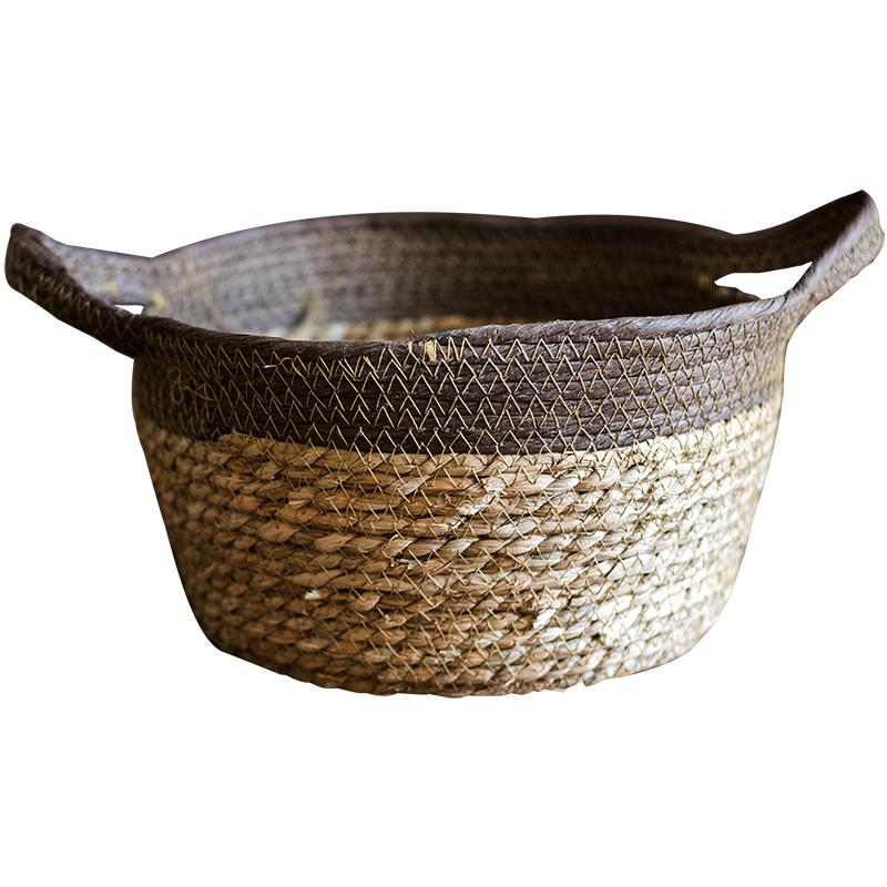 Khaki Brown Straw Basket with Handles RusticReach