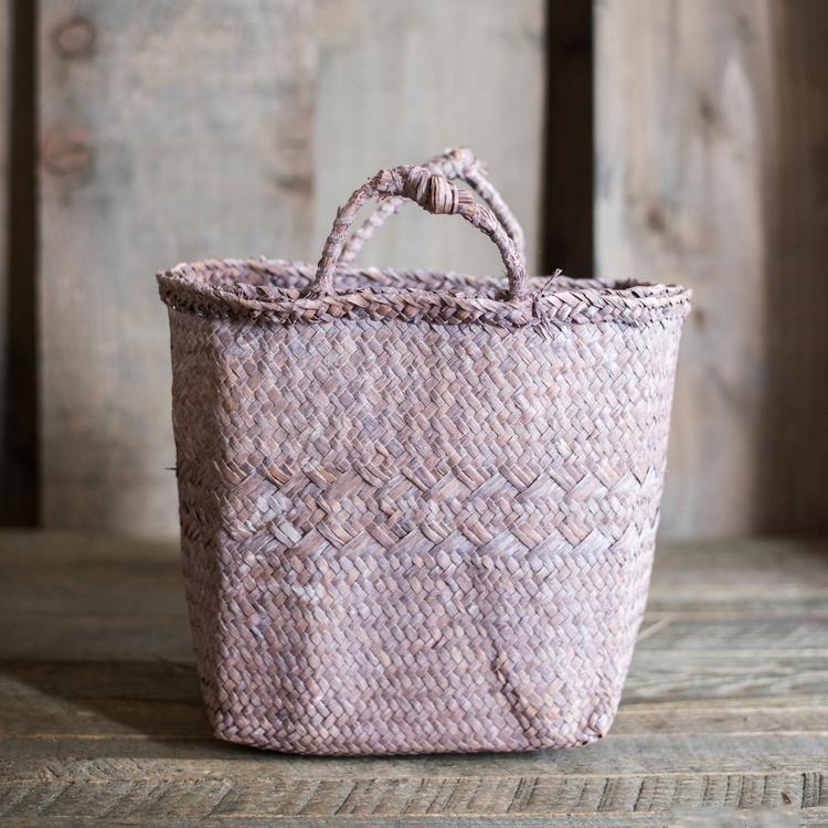 Light Purple Straw Basket with Handles RusticReach