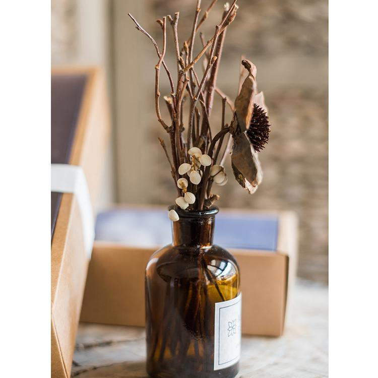 Natural Dried Flower Branches in Glass Bottle RusticReach