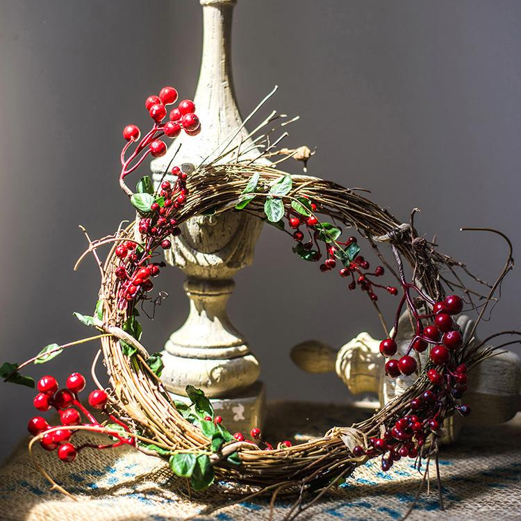 "Natural Rattan Willow Small Berry Wreath in Green and Red 2.5"" D Set of 2 RusticReach"