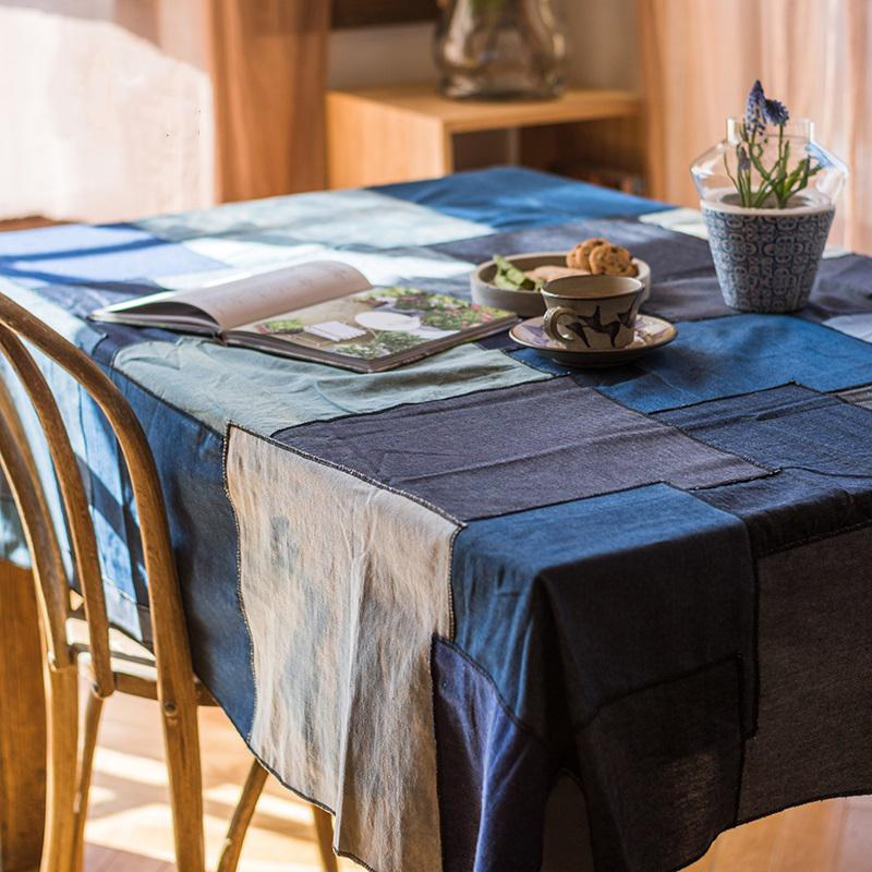 Patchwork Cotton Tablecloth in Blue RusticReach