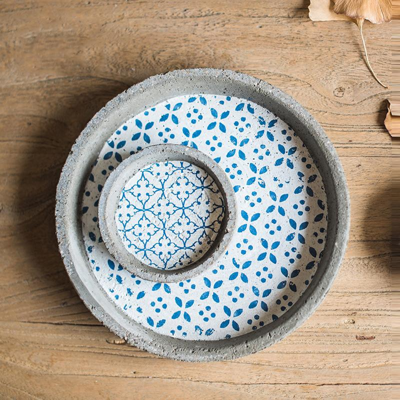 Plant Saucer Cement Blue Pattern Plant Tray Set of 2 RusticReach