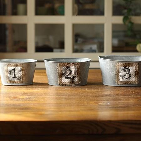 Planter Cachepot Decorative Number Flower Metal Cachepot (Set of 3) RusticReach