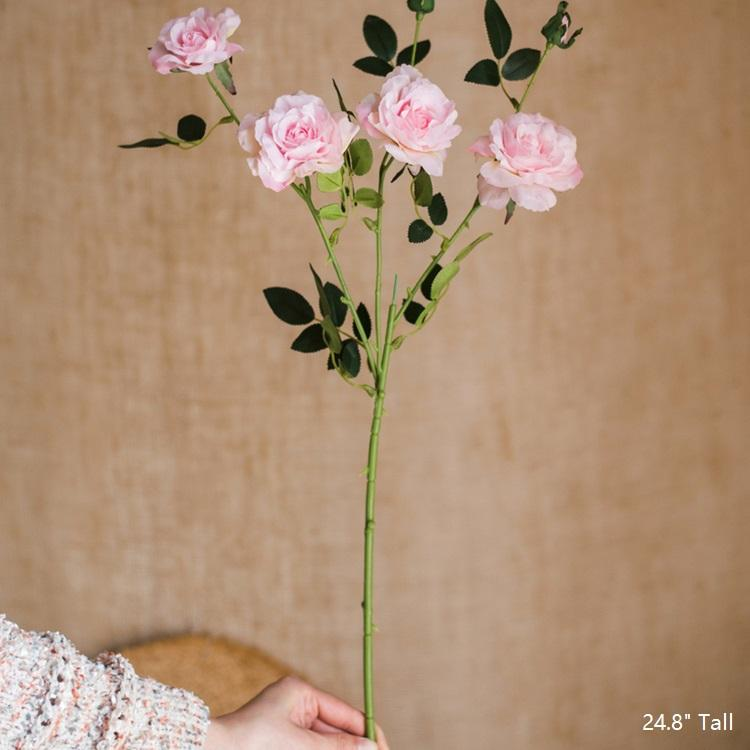 "Real Touch Blooming Rose Stem in Pink 25"" Tall RusticReach"