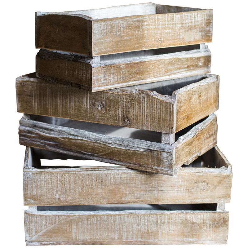 Rectangular Solid Wood Crates RusticReach
