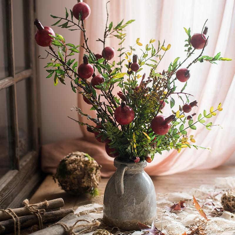 Red Pomegranate Bouquet in Ceramic Vase Set RusticReach