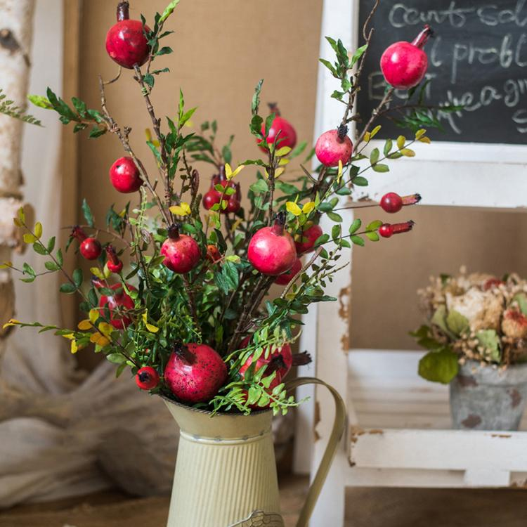 Red Pomegranate Bouquet in Metal Flower Pot Set RusticReach
