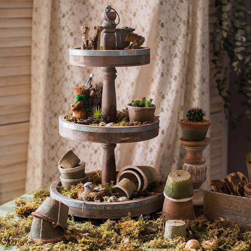 Rustic Solid Wood 2-Tire and 3-Tier Cake Stand RusticReach