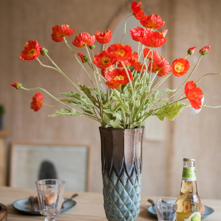"Silk Common Poppy Flower Stem 22"" Tall RusticReach"