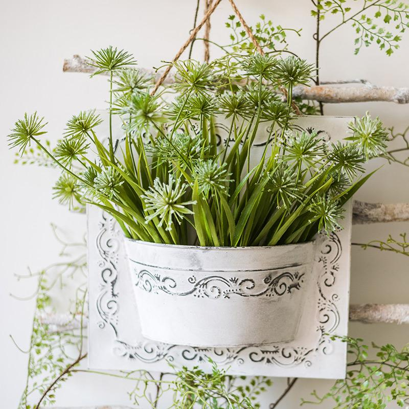 Snowflake Grass in Iron Hanging Planter Set RusticReach