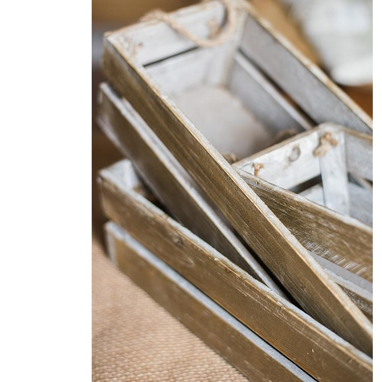 Solid Wood Crate Flat Long Crate With Rope Handles RusticReach