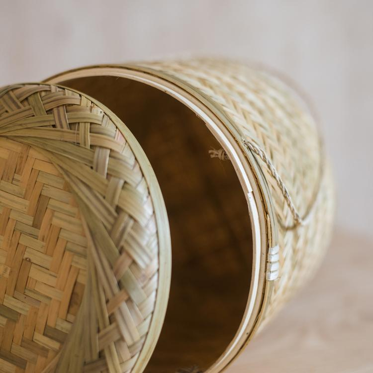 Southeast Asia Round Bamboo Tea Box Jar RusticReach
