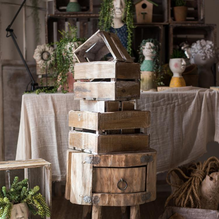 Square Cube Solid Wood Crates RusticReach