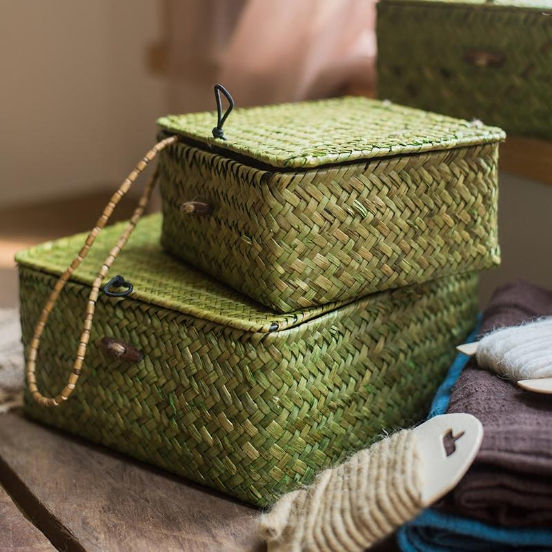 Straw Basket Natural Small Lidded Basket in Green (Set of 3) RusticReach