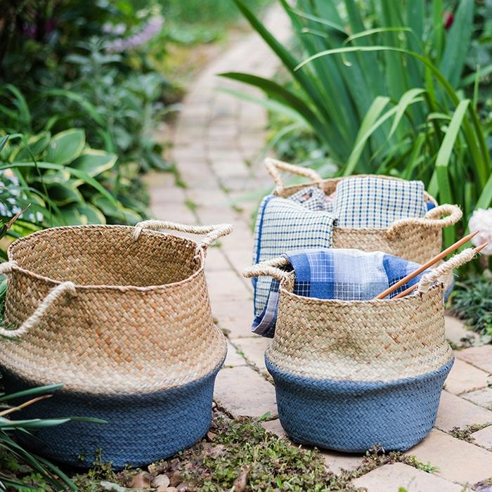 Straw Basket Pop Up Belly Basket RusticReach