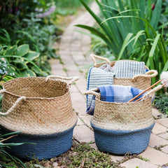 Straw Basket Pop Up Belly Basket
