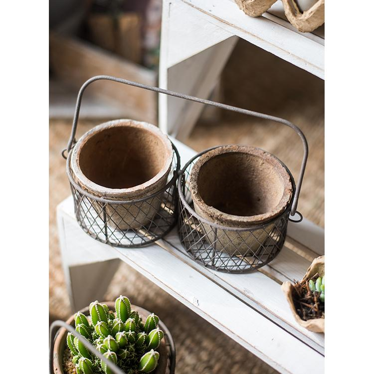 Terracotta Planter in Wire Carry Basket RusticReach