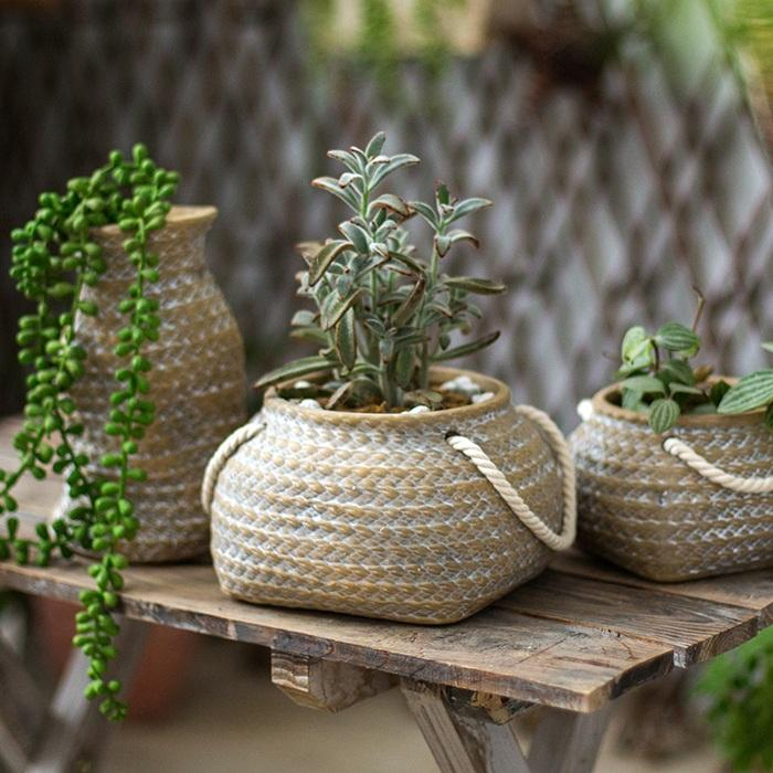 Tiny Ceramic Planter Hemp Bag Design with Rope Handles RusticReach