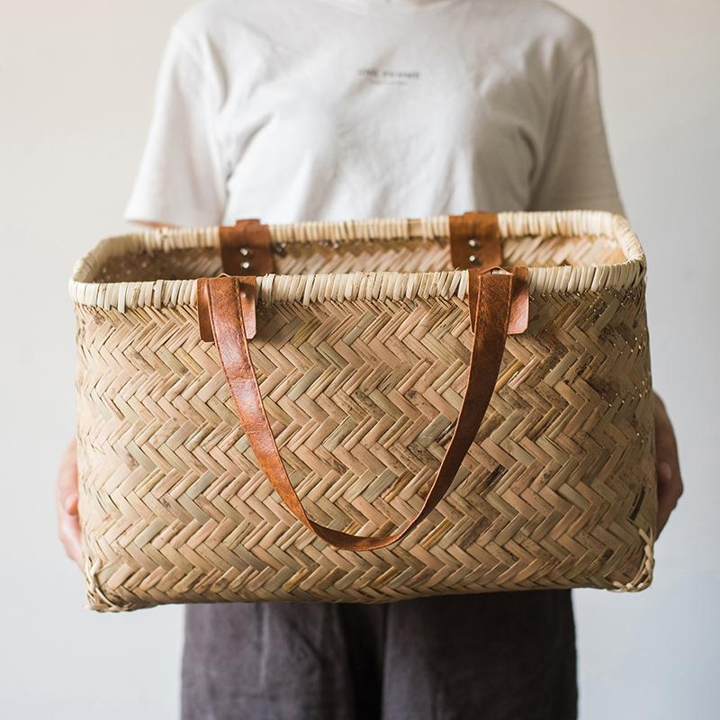 Vietnamese Bamboo Bag Handcrafted Organizer Storage RusticReach