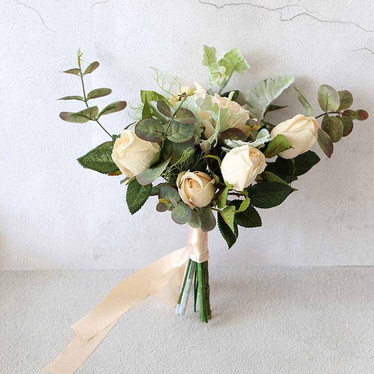 "Wedding Bouquet Champagne Rose Green Leaf Bridesmaid Bouquet 9.8"" Tall RusticReach"