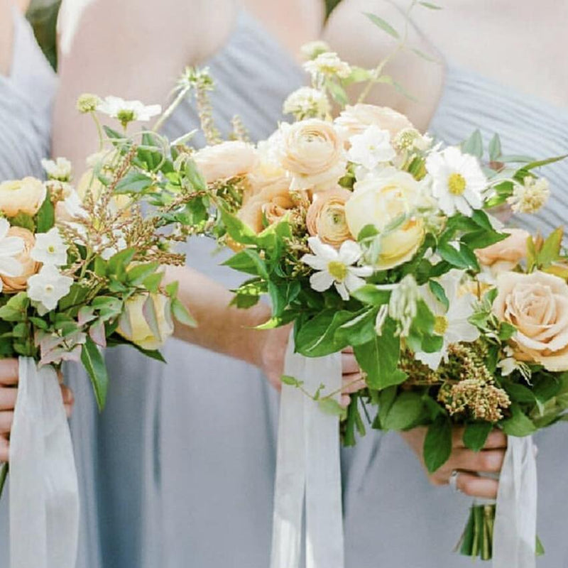 Wedding Bouquet Champagne Rose White Daisy with Greenery Leaves RusticReach