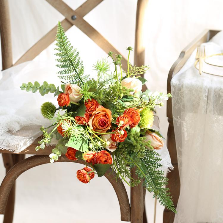 "Wedding Bouquet Orange Buttercup and Rose Mixed Bridal Bouquet 16"" Tall RusticReach"