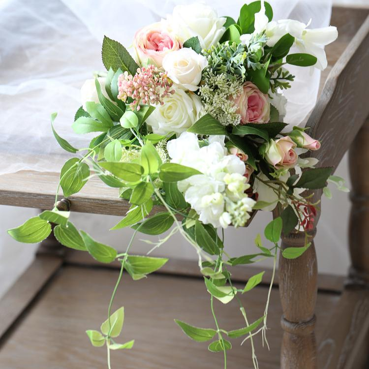 "Wedding Bouquet Pink White Greenery Bridal Bouquet 15.7"" Tall RusticReach"