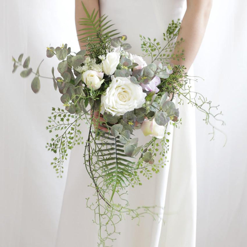"Wedding Bouquet The White Greenery Bridal Bouquet 7.9"" Tall"
