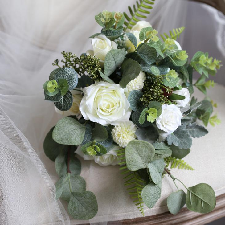 "Wedding Bouquet The White Greenery Bridal Bouquet 7.9"" Tall RusticReach"