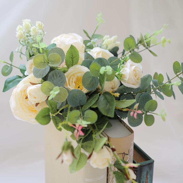 "Wedding Bouquet White Rose and Eucalyptus Bridal Bouquet 17.7"" Tall RusticReach"