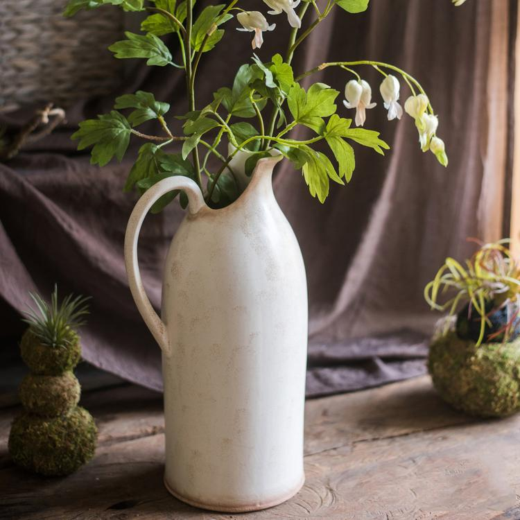 White Ceramic Flower Pot Vase RusticReach