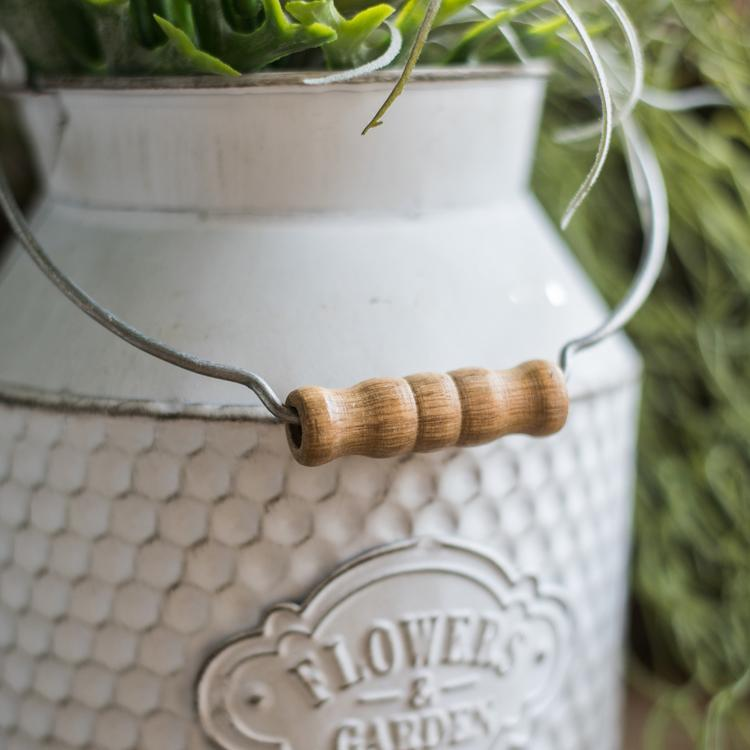 White Small Iron Flower Garden Barrel RusticReach