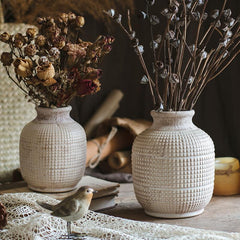 White Textured Porcelain Ceramic Jar Vase