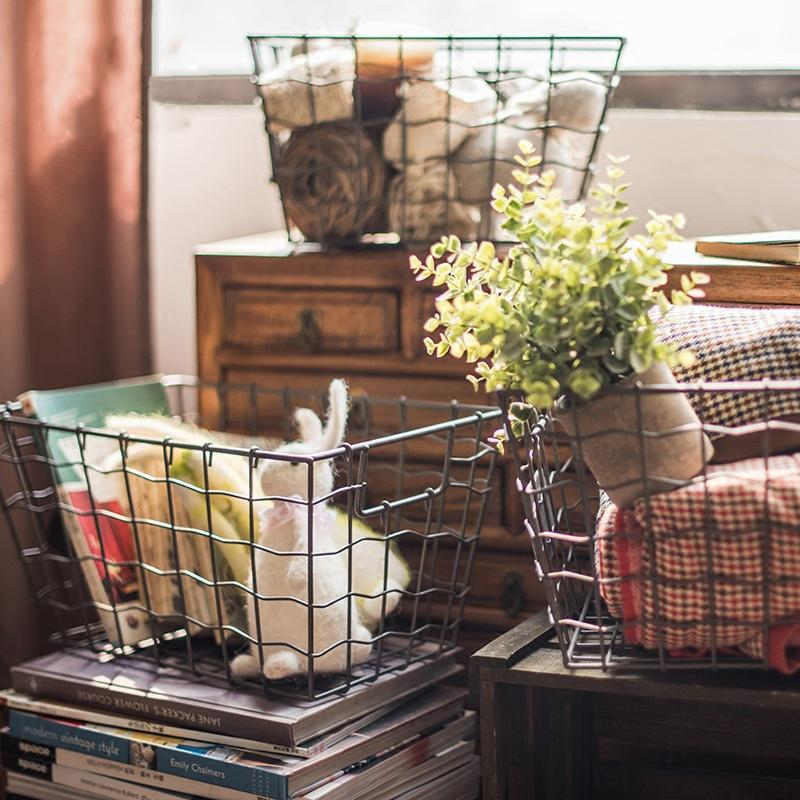 Wire Basket Organizer with Label Holder RusticReach