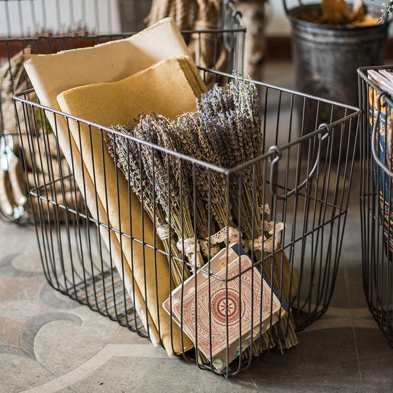 Wire Basket Storage Organizer with Handles RusticReach