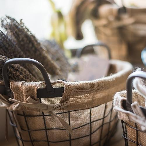 Wire Basket With Linen Liner Oval RusticReach