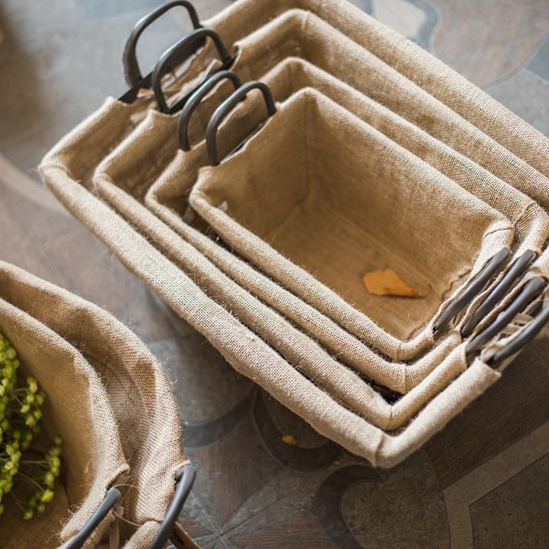 Wire Basket With Linen Liner Rectangular RusticReach