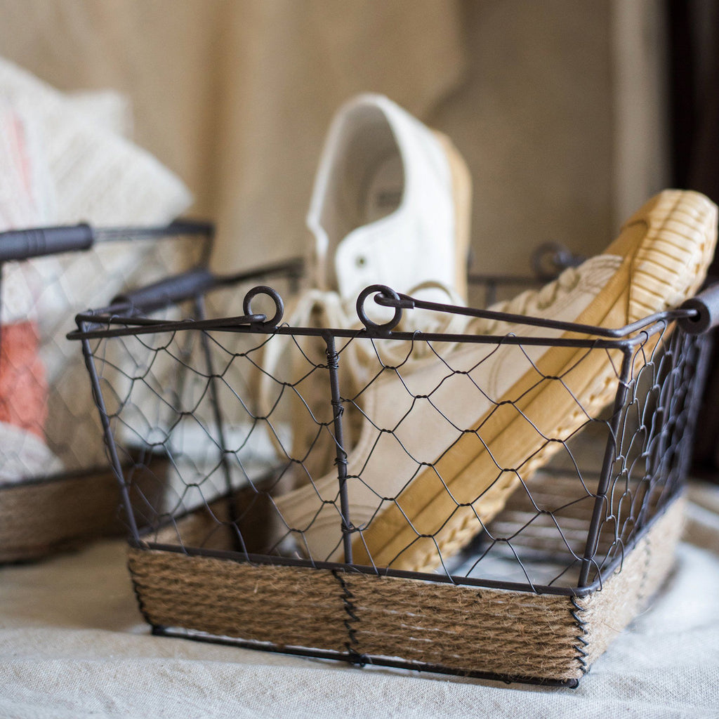 Wire Carry Basket With Hemp Rope Bottom Rectangular RusticReach