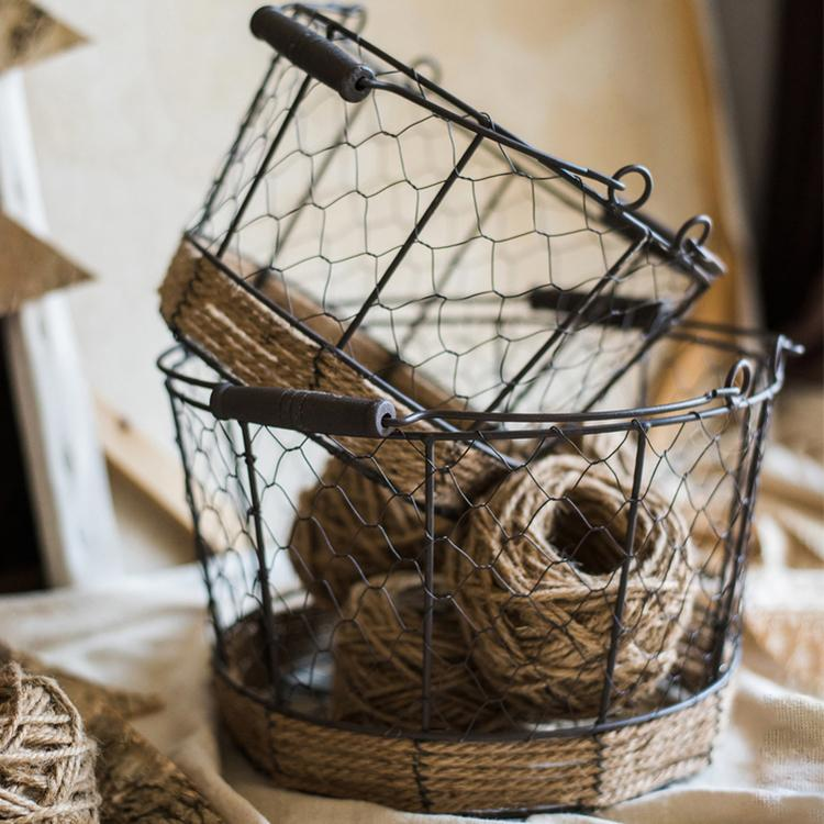 Wire Carry Basket With Hemp Rope Bottom Round RusticReach