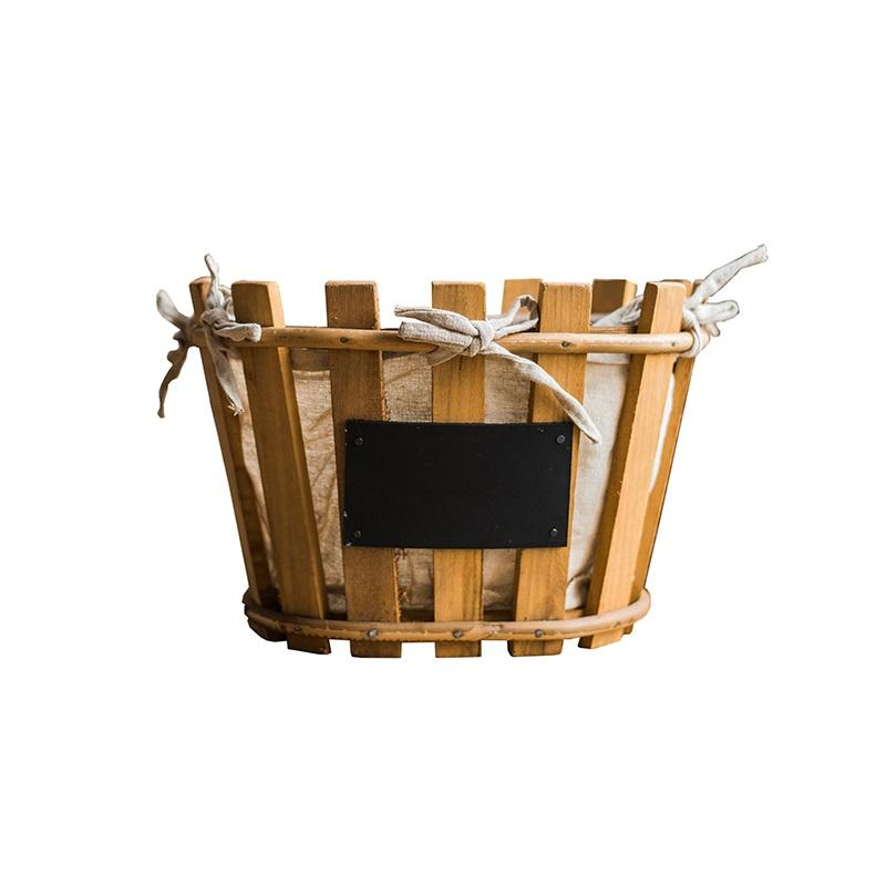 Wood Basket Linen Lining Handmade Basket with Chalkboard RusticReach