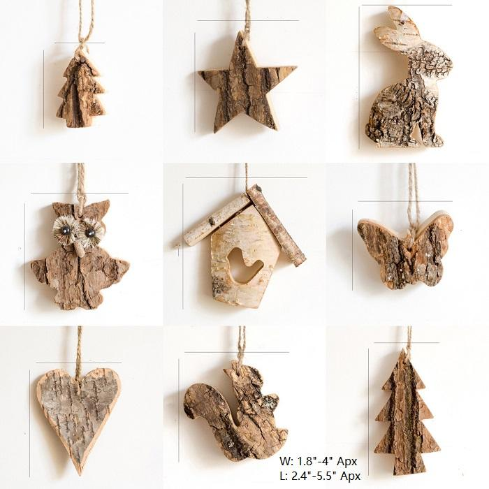 Wood Tree Ornament in Various Shapes Randomly Picked Set of 5 RusticReach