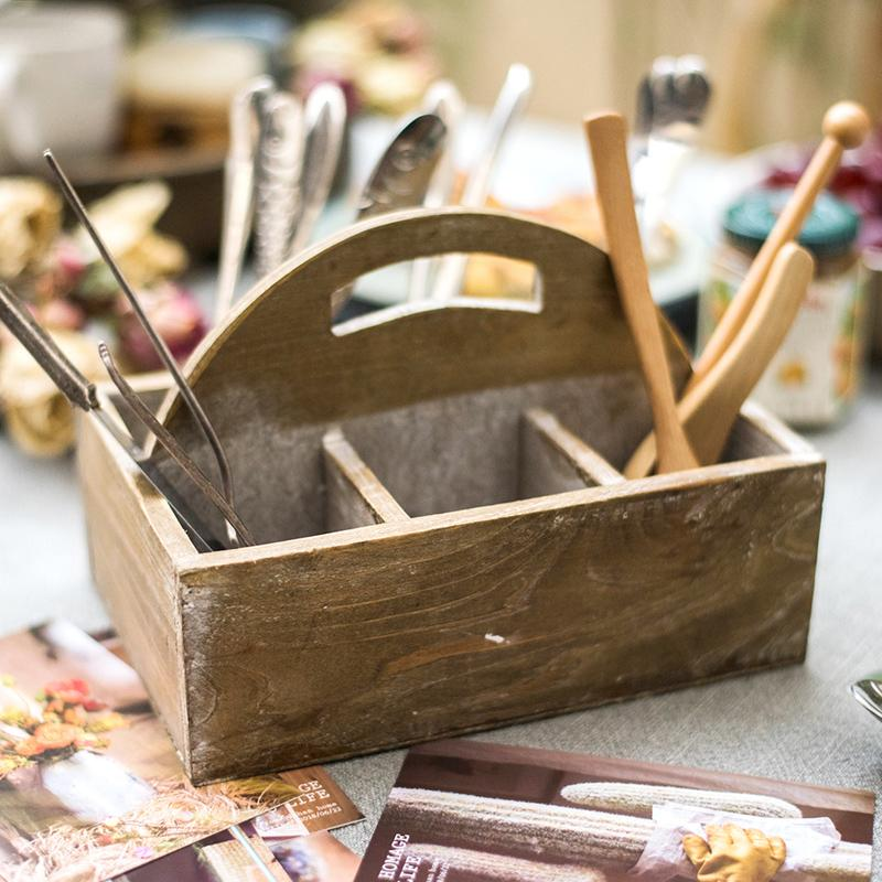 Wooden box basket with Carry Handle RusticReach