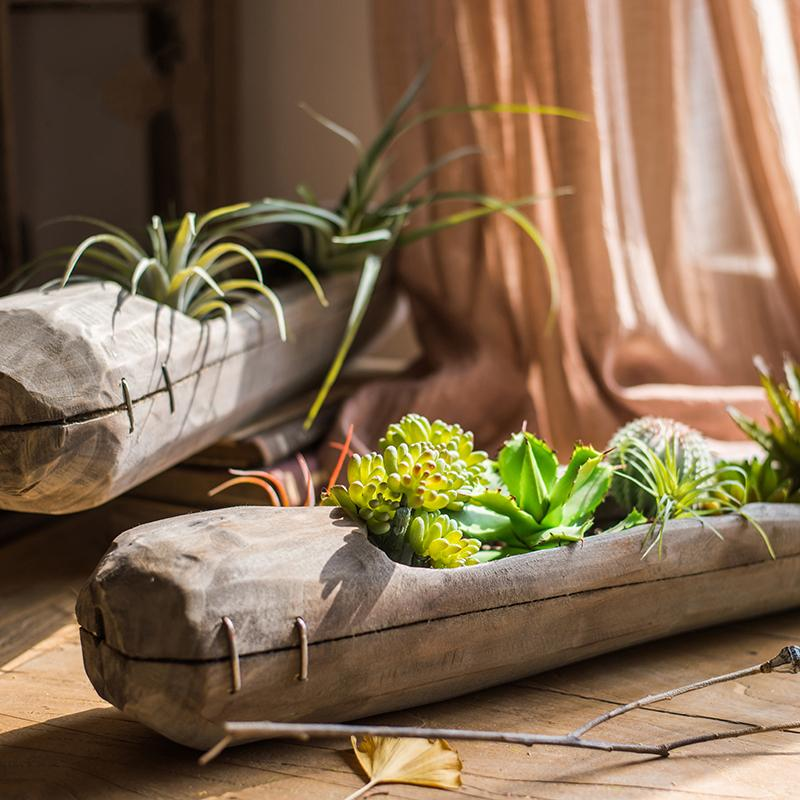 Wooden Long Centerpiece Planter RusticReach