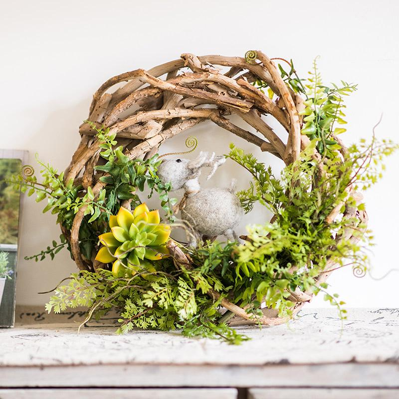Wreath Spring Green on Rattan RusticReach