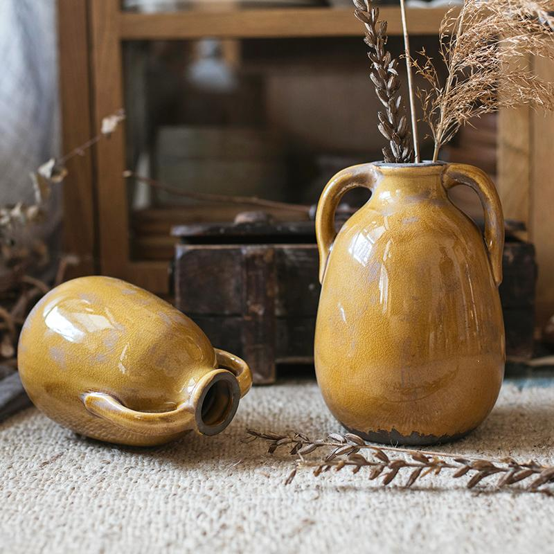 Yellow Glazed Ceramic Vase with Handles RusticReach