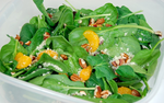 Spinach-and-Orange Salad with Almonds and Honey-Sesame Dressing