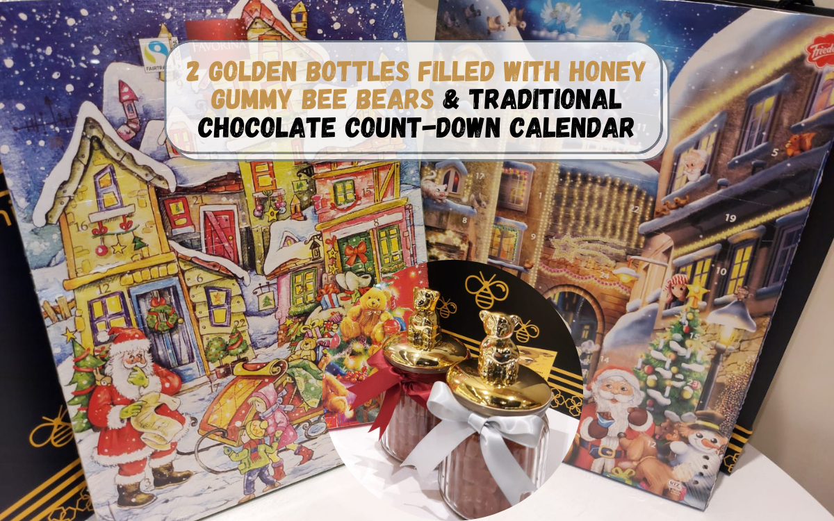Christmas Promotion - 2 Golden Bottles of Bee Bear and Traditional Chocolate Count-down Calendar